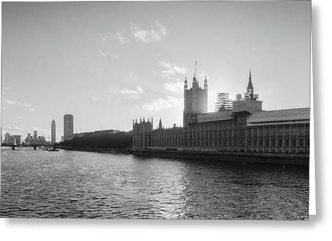 Black And White View Of Thames River And House Of Parlament From Greeting Card