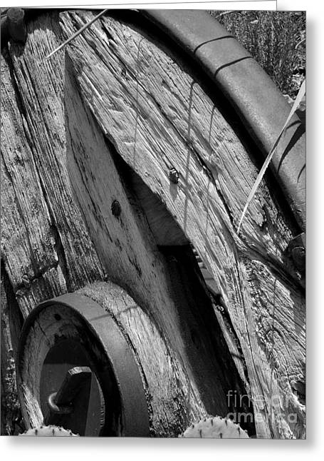 Black And White Wagon Wheel 1 Greeting Card