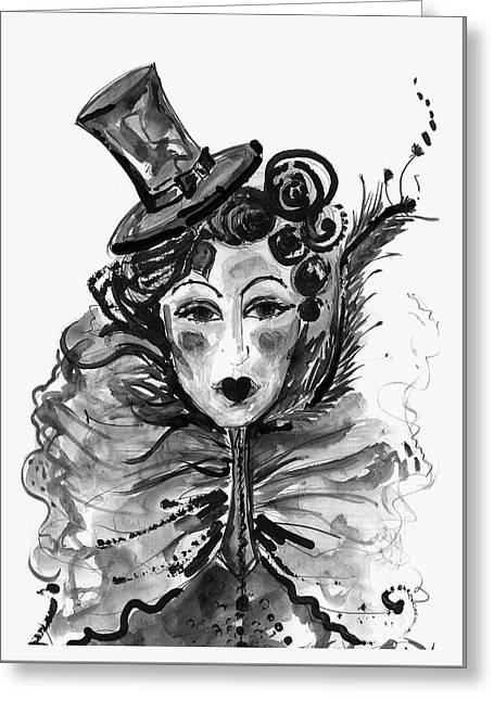 Black And White Watercolor Fashion Illustration Greeting Card