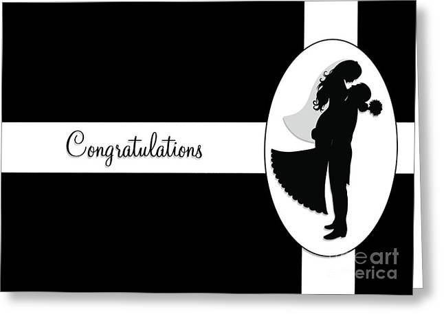 Greeting Card featuring the digital art Black And White Wedding Couple by JH Designs