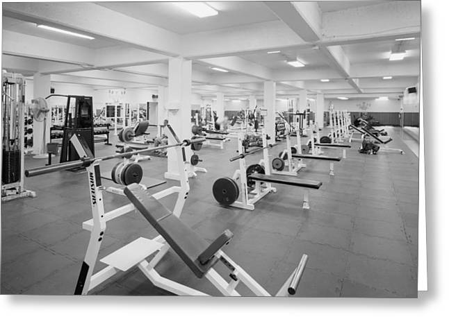 Black And White Weight Room Photograph Greeting Card by PhotographyAssociates