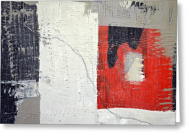 Greeting Card featuring the painting Black And White With Red Box by Michelle Calkins