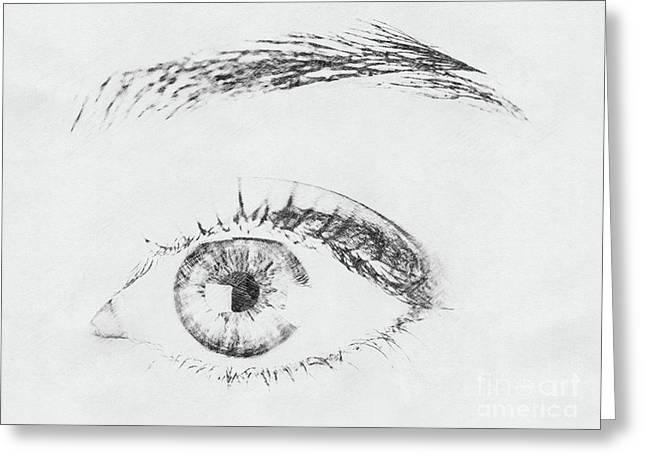 Black And White Woman Eye Greeting Card by Radu Bercan