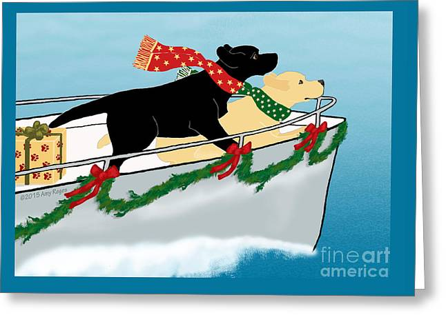 Black And Yellow Labs Boat To Christmas Greeting Card