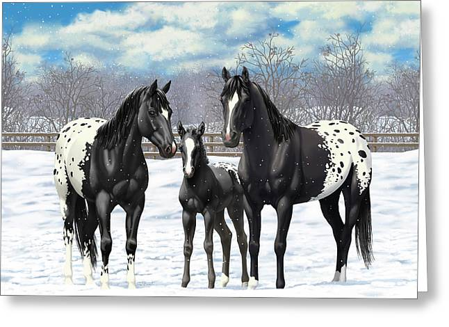 Greeting Card featuring the painting Black Appaloosa Horses In Winter Pasture by Crista Forest