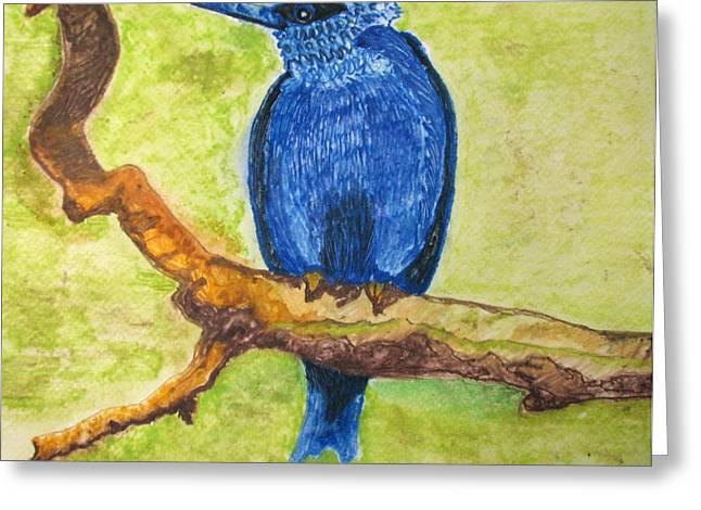 Greeting Card featuring the painting Black As Blue Bird by Patricia Arroyo