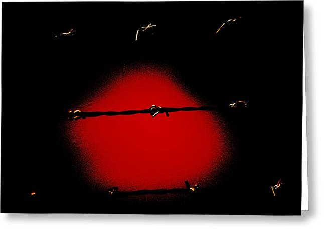 Black Barbed Wire Over Black And Blood Red Background Eerie Imprisonment Scene Greeting Card