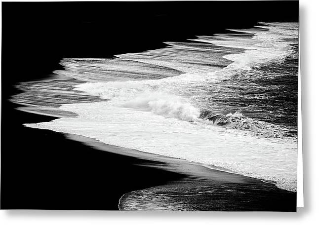 Greeting Card featuring the photograph Black Beach And The Water Of The Ocean by Matthias Hauser