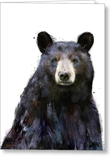 Black Bear Greeting Card by Amy Hamilton