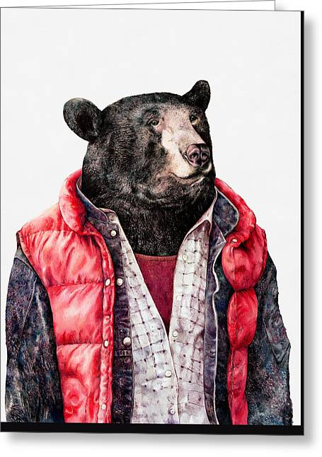 Black Bear Greeting Card by Animal Crew