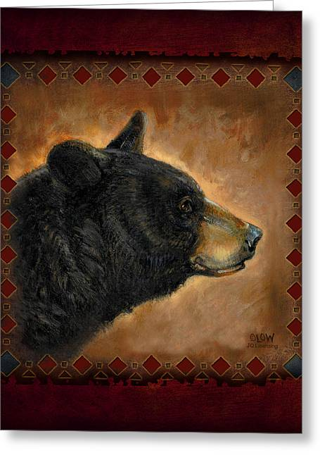 Tribal Greeting Cards - Black Bear Lodge Greeting Card by JQ Licensing