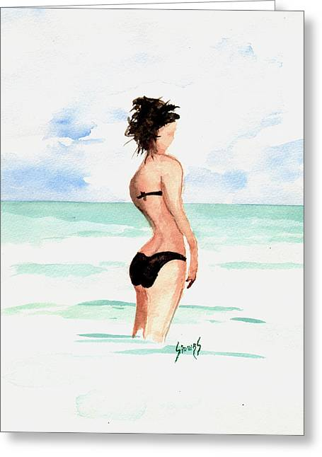 Black Bikini Greeting Card by Sam Sidders