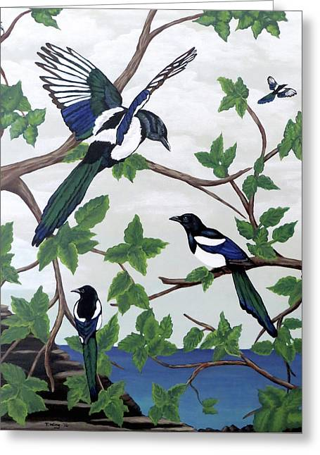 Black Billed Magpies Greeting Card