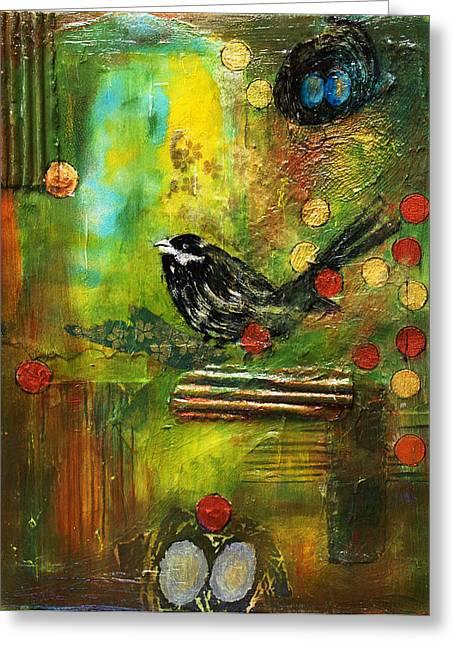 Black Bird Come Home Greeting Card by Ishita Bandyo