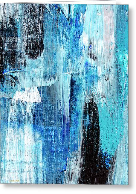 Greeting Card featuring the painting Black Blue Abstract Painting by Christina Rollo