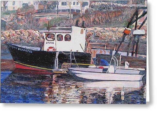 Black Boat Reflections Greeting Card by Richard Nowak