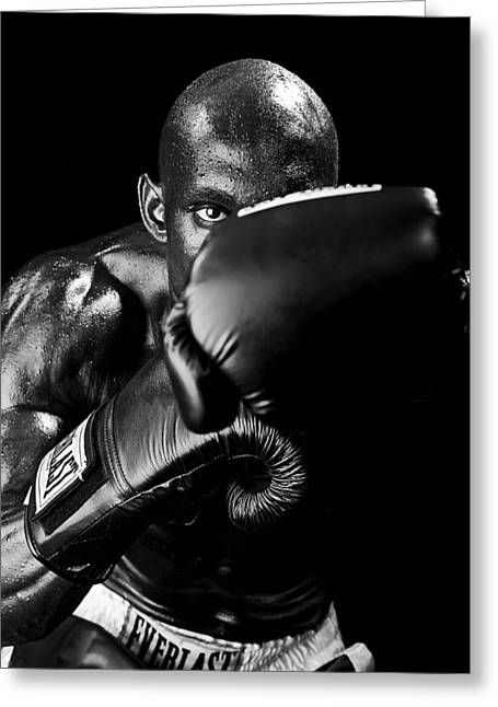 Black Boxer In Black And White 04 Greeting Card