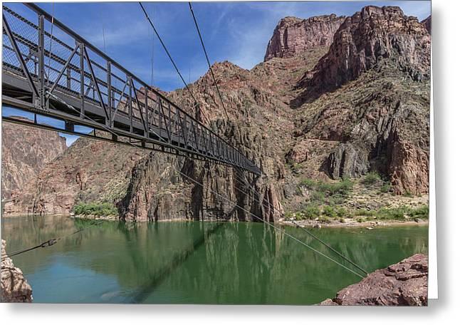 Black Bridge Over The Colorado River At Bottom Of Grand Canyon Greeting Card