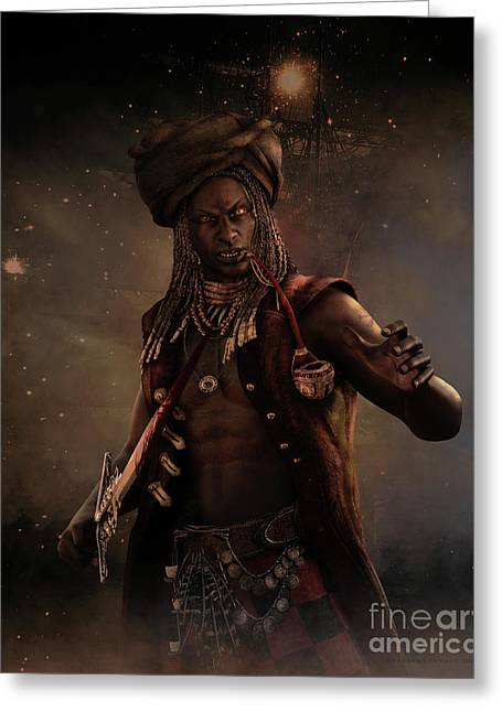 Black Caesar Pirate Greeting Card by Shanina Conway