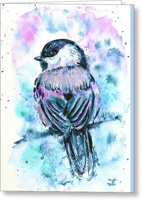 Greeting Card featuring the painting Black-capped Chickadee by Zaira Dzhaubaeva