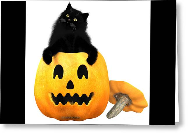 Black Cat And Halloween Greeting Card by Corey Ford