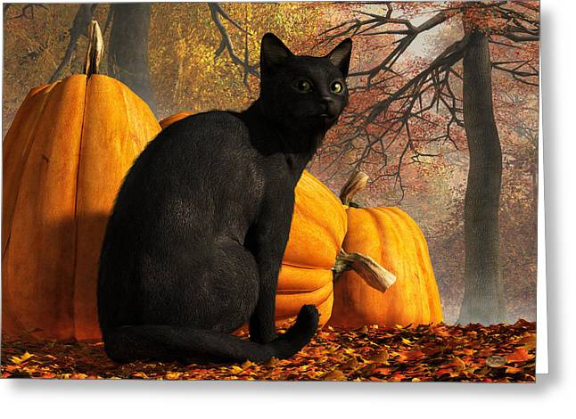 Greeting Card featuring the digital art Black Cat At Halloween by Daniel Eskridge