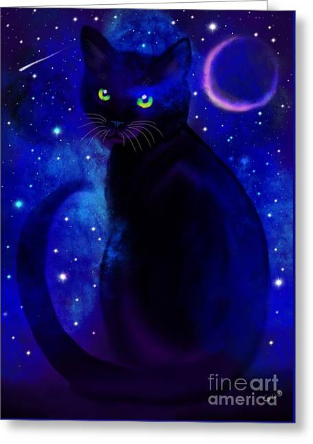 Greeting Card featuring the painting Black Cat Blues  by Nick Gustafson