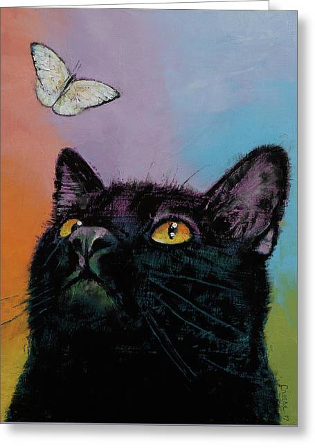 Black Cat Butterfly Greeting Card