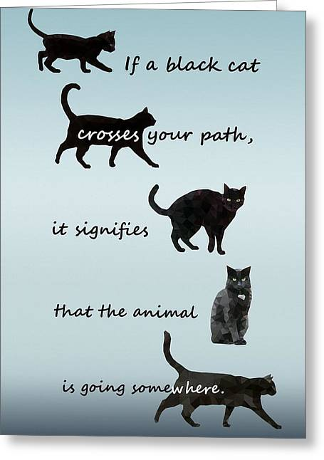 Black Cat Crossing Greeting Card