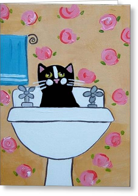 Black Cat In Sink Greeting Card by Christine Quimby