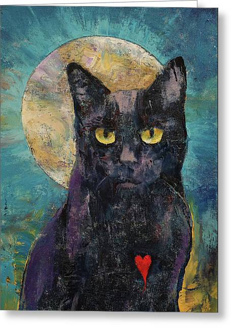 Black Cat Lover Greeting Card by Michael Creese