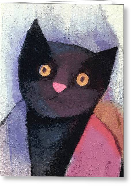 Black Cat Greeting Card by Lutz Baar