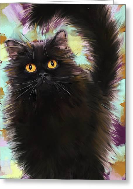 Black Cat Greeting Card by Melanie D