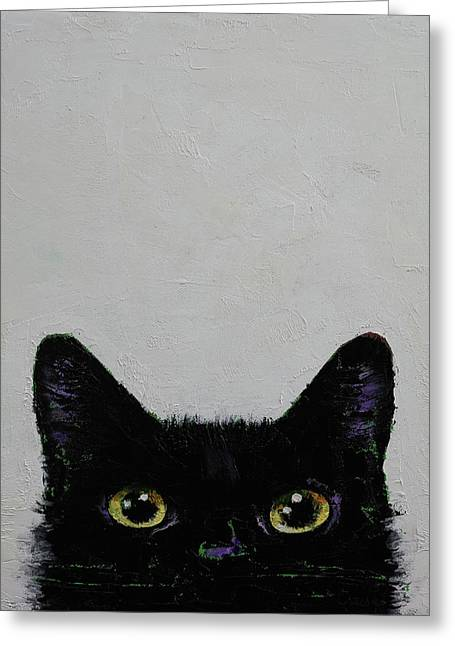 Black Cat Greeting Card by Michael Creese