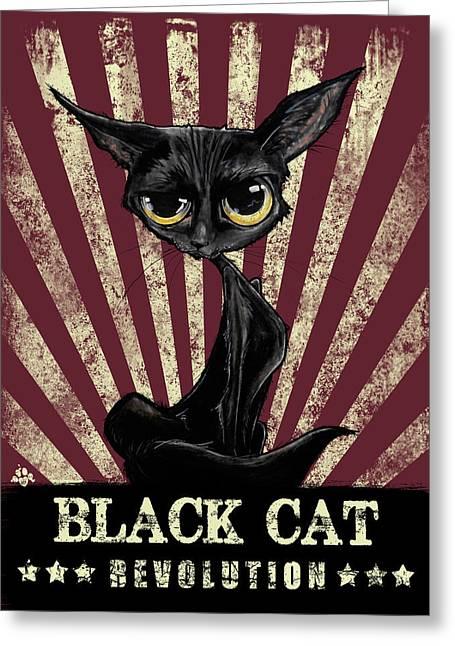 Black Cat Revolution Greeting Card