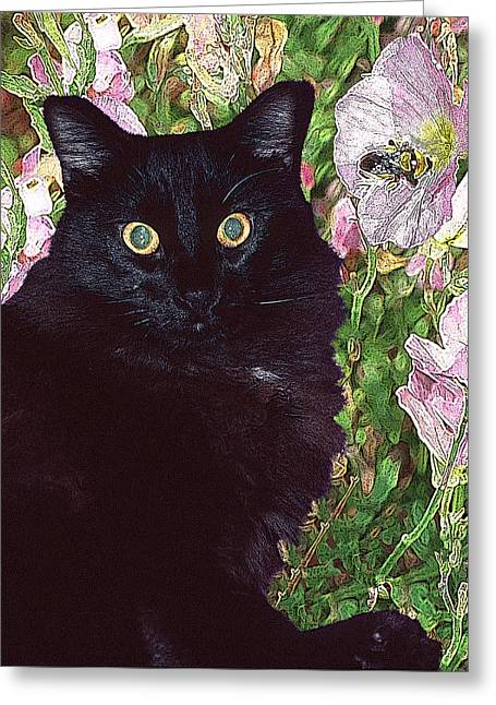 Black Cat Startled By A Bee Greeting Card