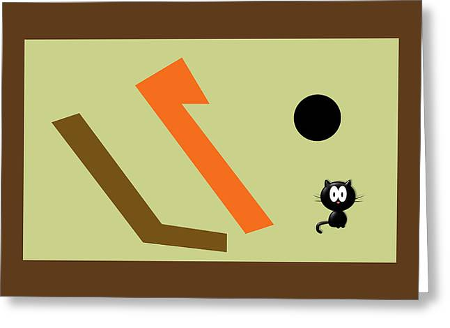 Black Cat Under A Black Sun Greeting Card
