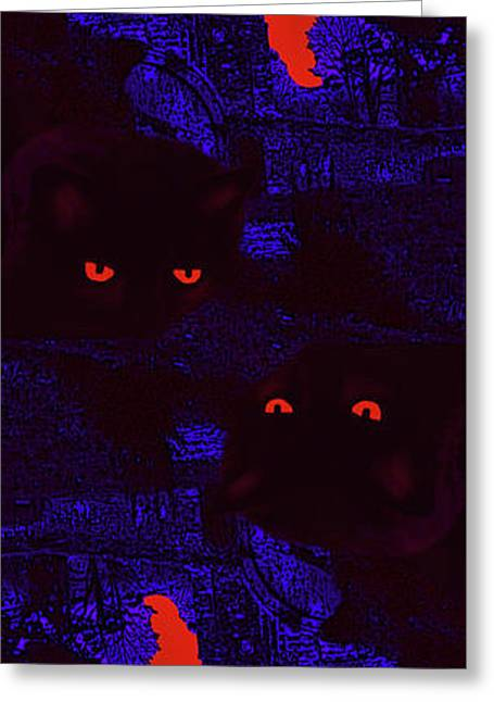 Black Cat Under A Blood Red Moon Greeting Card