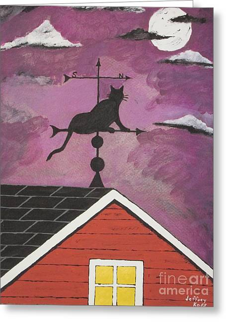 Black Cat Weathervane Greeting Card by Jeffrey Koss