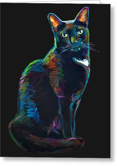 Black Cat With Fangs Greeting Card