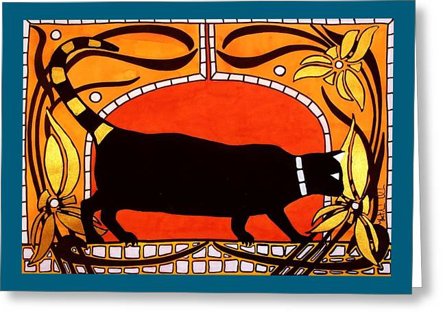 Black Cat With Floral Motif Of Art Nouveau By Dora Hathazi Mendes Greeting Card