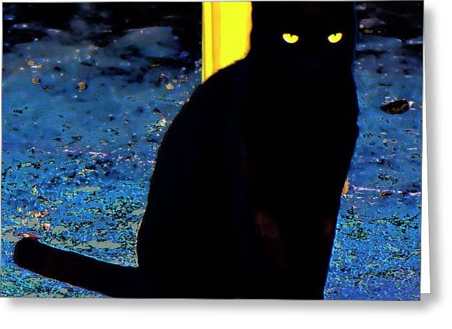 Black Cat Yellow Eyes Greeting Card