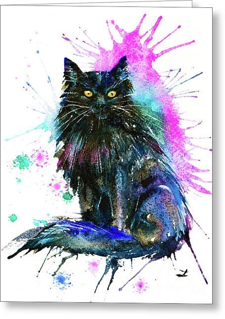 Greeting Card featuring the painting Black Cat by Zaira Dzhaubaeva