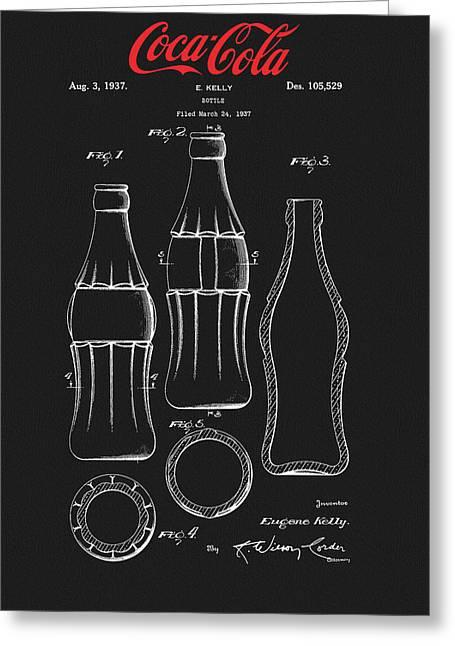 Black Coca Cola Bottle Patent Greeting Card