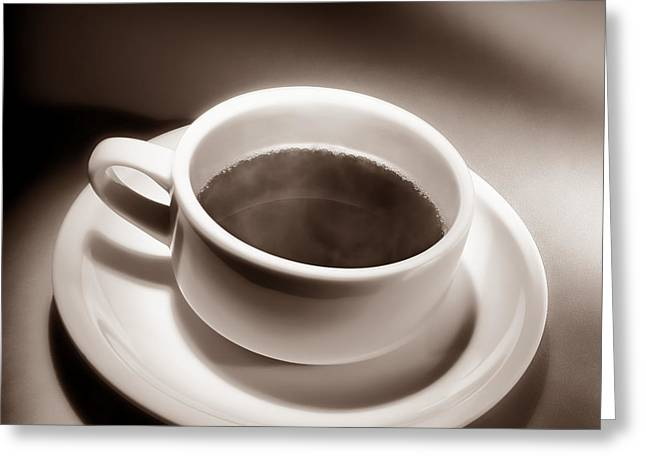Black Coffee White Cup Greeting Card by Olivier Le Queinec