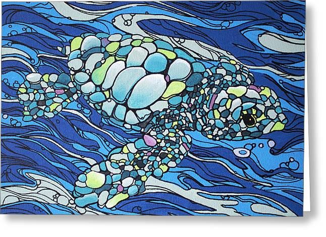 Greeting Card featuring the painting Black Contour Turtle by William Love