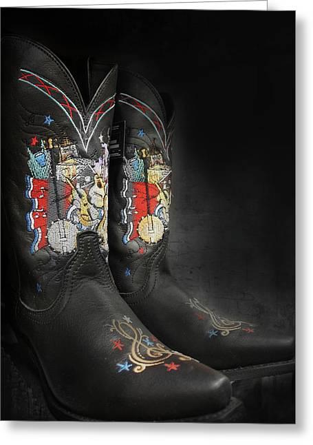 Black Cowboy Boot Greeting Card
