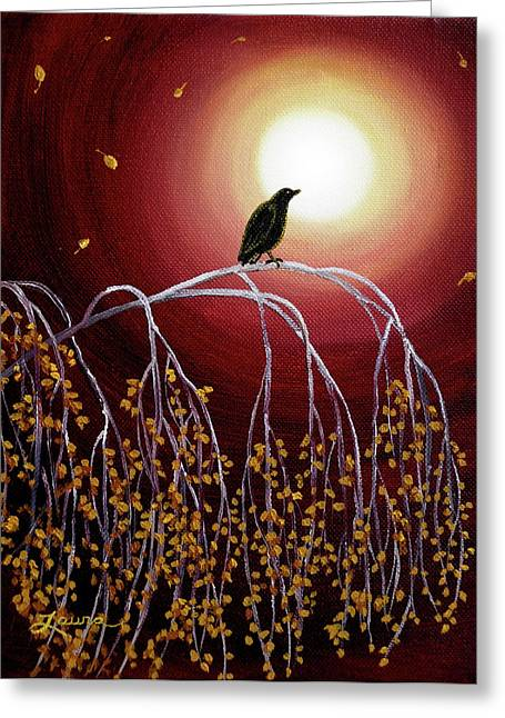 Burgundy Greeting Cards - Black Crow on White Birch Branches Greeting Card by Laura Iverson