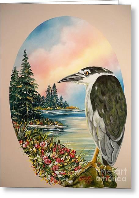 Flying Lamb Productions                     Black Crowned Heron Greeting Card