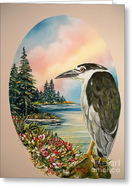 Flying Lamb Productions                     Black Crowned Heron Greeting Card